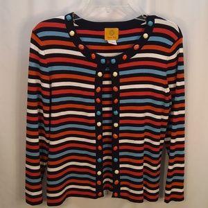 Ruby Rd. Sz M striped cardigan